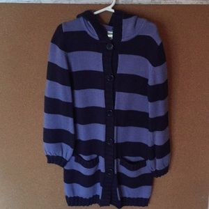 Crazy 8 Hooded Striped Tunic Length Sweater